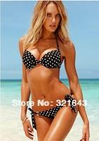 freeshipping 2014 Black Color White Point Diamond Swimwear Bikinis set Beachwear Waist Adjust Swimsuit