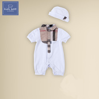 Free shipping 2014 summer new men white cotton coveralls baby clothes baby newborn child climb sleeved Romper + hat 2pcs
