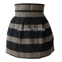 Winter New 2014 Women skirt Fashion Brand Fluffy Gold Rivet High Waist Elastic Ball Gown Plus Short Skirts For Women F0056