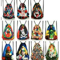 2014 New Fashion mochila Rock faith pringting vintage colorful folding casual men's travel bags canvas women travel bags