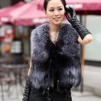 Fashion 2015 New Women fur Vest faux vest medium-long stand collar artificial fur coat vest winter short coat