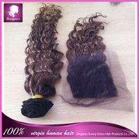 Brazilian Virgin Hair 1pcs Lot free Part Lace Closure With 3pcs Hair Bundles Unprocessed Human Virgin Hair Extension curly