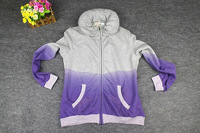 2014 New Arrival Fashion Women's Autumn Gradient Color Bubble O-Collar Long Sleeve Novelty jacket Sweatshirts Fleece,Free Ship