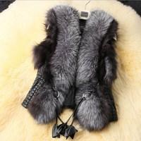 New Women fur Vest faux vest medium-long stand collar artificial fur coat vest 2015 spring winter short coat