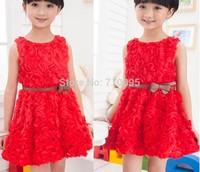 Summer Sleeveless Baby Girl Rose Flower Dress Children Party Dress Orange Red Pink, BG15