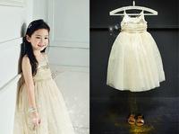 2014 Summer New Girls Golden Sequins TUTU Party Dress  Girls Beige Sleeveless Wedding Princess Dress Child clothing5pcs/lot,2-6Y