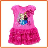Girls Frozen Princess Dresses New 2014 Girl Summer Dress Kids Short-Sleeves Casual Cotton Clothes 5pcs/lot IDZ9410