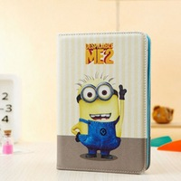 New Arriver Despicable ME 2 Cartoon Stand Cover Leather Case For Samsung Galaxy Tab 2 7.0 P3100 p3110 P3113  Free Shipping