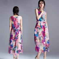 Free shipping new 2014 women summer dress long print desigual casual fashion dresses vestido