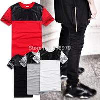 2014 new fashion hba zipper ultra long PU leather bandana tee men and women's skateboard T-shirt pyrex extended tee swag