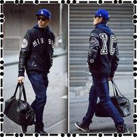 2014 autumn and winter fashion men leather nhiz Stitching leather sleeves baseball uniform letter jacket outerwear
