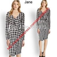 New Fashion 2014 Elegant Celebrity V-neck Full Sleeve Knee-length Cotton Casual Bodycon Women Dresses with belt