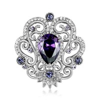 crystal brooch NB-104 Badge 3 colors purple/champagne/clear 2015 Rihood