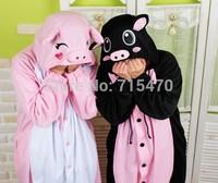 Lovely Adult Unisex Animal Lovely Pink Black Pig Pajamas Sleepsuit Onesie Animal Sleepwear Pajamas Onesie