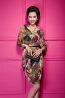 Free shipping new 2014 women dress Fashion doodle print vintage three quarter sleeve V-neck chiffon sweep dress vestido
