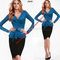 New 2014 women Floral Lace Crochet full Sleeve casual women t shirt blue shirts