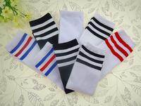 20pairs/lot Striped children knee high sport socks student kid's soccer socks athletic hose 35cm free shipping