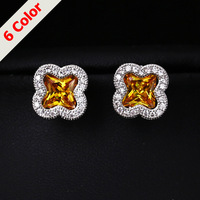Yashow 18K White Plated Gold Unique Stud Earrings AAA Zircon Stone Nickel, Cadmium free Jewelry