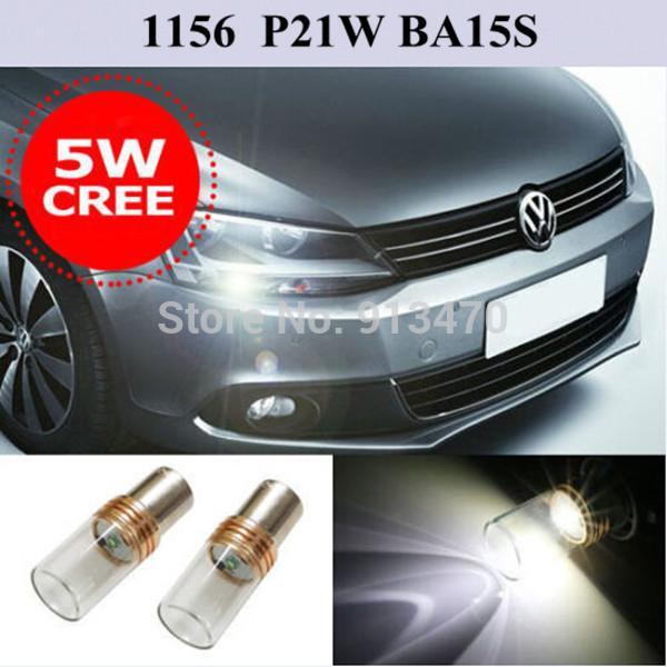 2pcs 1156 P21W BA15S Error Free Xenon White CREE LED Bulbs for MK6 Volkswagen Jetta Daytime DRL Light(China (Mainland))