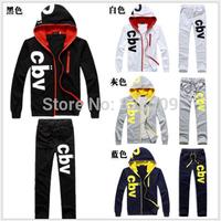 2014 Design Brand Sweatshirt Male Casual Sports Set Men's Clothing Boys Sportswear Slim The Trend Of Set Jacket+Pants Free Ship