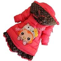 Girls Cotton Padded Winter Warm Jacket Children's Thicken Outwear 2014 New Arrival Baby Long Wear