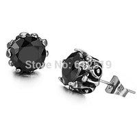 LoveJewelry Fashion Women's Earrings Black Rhinestone Titanium Steel Stud Earring