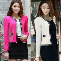 New 2014 autumn Pearl trim design long sleeve blazer women coat,slim all-match 4 colors casual blaser feminino,clearance price