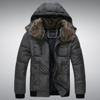 Mens Casual Thicken Large Faux Fur Collar Short Down Cotton Coat,Winter Snow Warm Cotton Coat Jacket,5 Colors,Size M-XXL,D8803