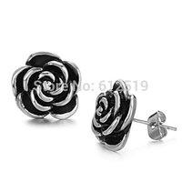 LoveJewelry Fashion Women's Earrings Black Flower Titanium Steel Stud Earring Ornaments Gift