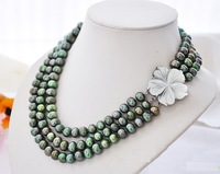 Elegant 3 ROWS  AAA+ 9-10MM South Sea Black  Pearl Necklace