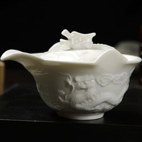 White Gongfu Tea Porcelain dragon relief  Gaiwan 160ml Free Shipping