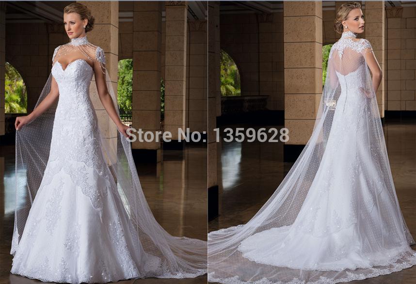 Luxurious Shoulder chain with long jacket queen wedding dress WD-059 vestido de noiva sereia custom made wedding dress 2015(China (Mainland))