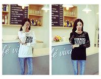 New 2014 women summer render t-shirt long-sleeve letter printed hollow out hook flower lace t-shirt fashion girl cotton t-shirt