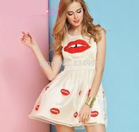 Dress NEW 2014 Summer Fashion Women Dresses Sleeveless Round Collar Silk dress lip print Embroidery Net yarn Summer dress
