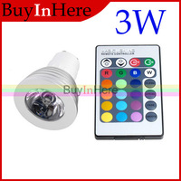 GU10 Ir Controller Remote Control 16 Color Changing Multiple Colour RGB LED Bulb Light Lamp Spotlight 3W 110V 220V +Remote