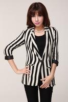 New 2014 autumn hot sale classic brief black and white striped women casual blazer feminino,slim all-match blaser coat,Promation