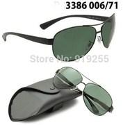 Men Women sunglasses dark green glass lenses full frame sunglasses driver mirror 3386 large yurt