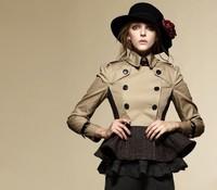 HOT NEW 2013 Women Fashion British Short Double Breasted Dress Trench Coat/High Quality Designer Elegant Trench #25013 M-XXL