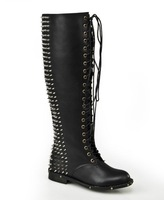 2014 Rockstud Women flats leather boots knee high spike rivets bootie lace up boots women's motorcycle boots