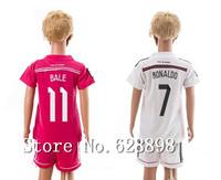 14 15 Real Madrid Kids Soccer jersey with shorts set,2015 JAMES BALE KROOS RONALDO Children/Youth t-shirt Football uniforms kits