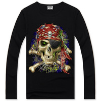 2014 new style men's long-sleeved 3D printing punk novelty skull printed Tops Tees casual loose street fashion Cotton T-Shirt