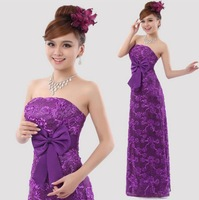 2015 spring Bride formal dress tube top dress long design formal purple lace red in lace bridesmaid dress