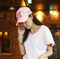 Fast Shipping-Hit! Korean Women Outdoor Sports Cotton  Baseball Golf Tennis Hiking Ball Cap Hat  with 3D Letter New