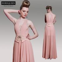 Vestido De Festa Real Chiffon Free Shipping31055 New Arrival Halter Women Formal A-line Floor Length Long Evening Dress 2014
