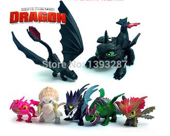 Горячая распродажа 2014 как приручить дракона 2 PVC фигурки игрушка кукла, Ночь ярость беззубый дракон / opp пакет 7 шт./лот