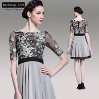 Abendkleider Real Chiffon New Arrival 2014 Prom Dress Elegant Applique Black/grey Half Sleeve Mini Party Dresses Evening 6076