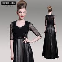 Dorisqueen Free Shipping31057 New Arrival Lace Half Sleeve Women Formal A-line Floor Length Black Long Evening Dress 2014