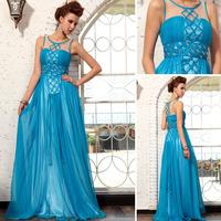 Vestido Para Madrinha Chiffon Fress Shipping 2014 New A-line Sleeveless Wedding Party Dresses Beading Long Bridesmaid 30717