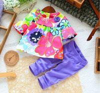 Hu sunshine Retail new 2014 baby & kids summer girls t-shirt +legging clothing set kids floral cothes sets children's 2pcs suits