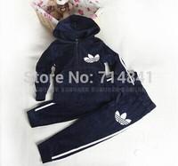 586 Retail free shipping children clothing set hooded tops + pants velvet suits MOQ=1 SET